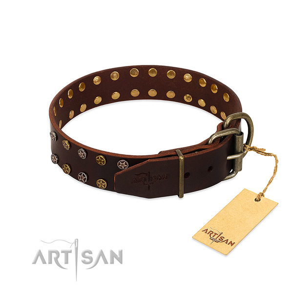 Everyday walking full grain genuine leather dog collar with trendy decorations