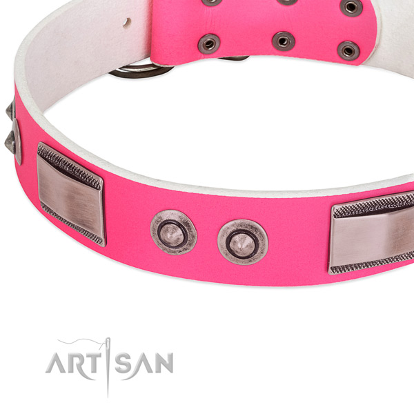 Easy adjustable natural leather collar with studs for your four-legged friend