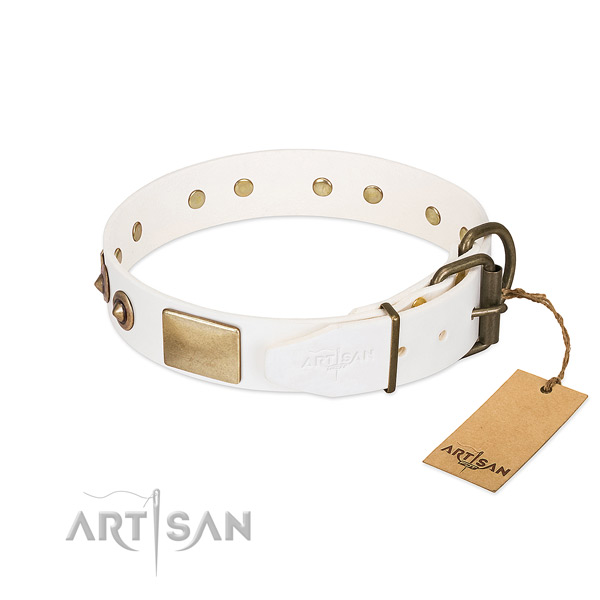 Durable D-ring on natural genuine leather dog collar for your doggie