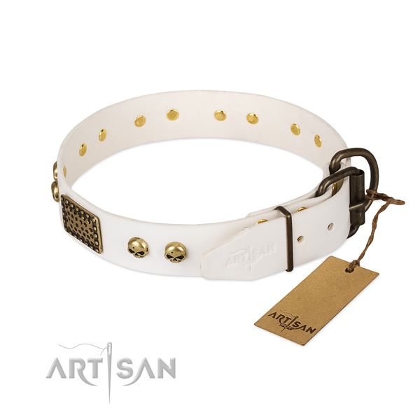 Easy to adjust full grain leather dog collar for stylish walking your pet