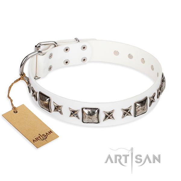 Full grain natural leather dog collar made of flexible material with corrosion proof D-ring