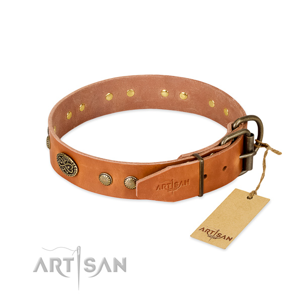 Rust resistant D-ring on full grain natural leather dog collar for your four-legged friend