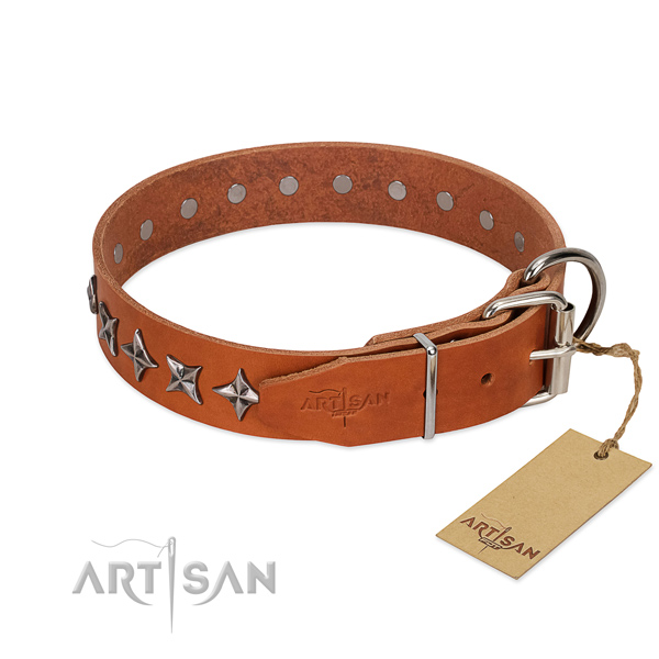 Easy wearing embellished dog collar of fine quality natural leather
