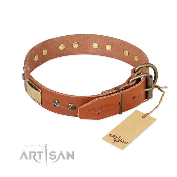 Full grain leather dog collar with rust-proof buckle and studs
