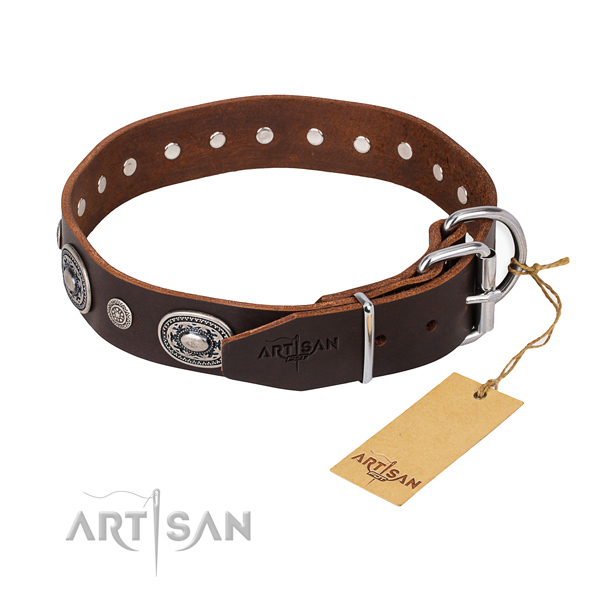 Quality full grain genuine leather dog collar made for stylish walking