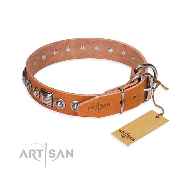 Leather dog collar made of top notch material with rust-proof embellishments