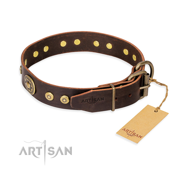 Genuine leather dog collar made of top rate material with reliable decorations