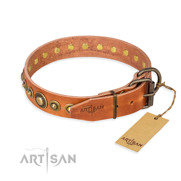 Top notch leather dog collar created for comfortable wearing