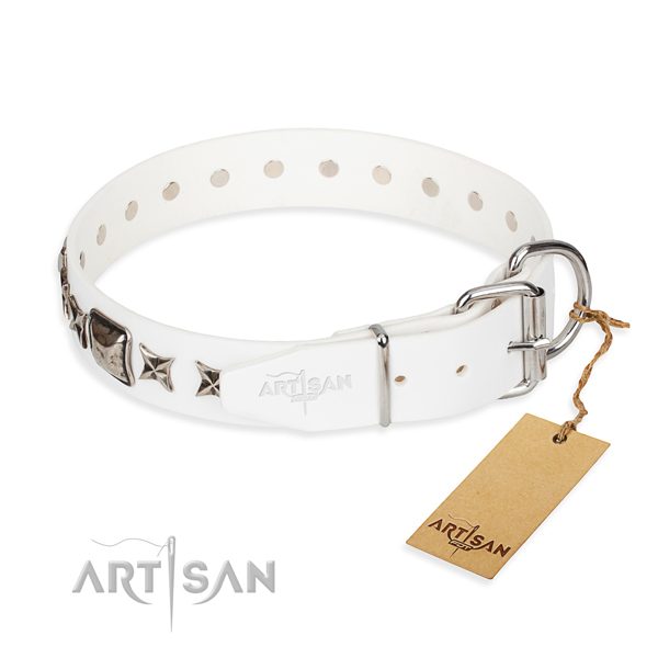 Fine quality decorated dog collar of natural leather