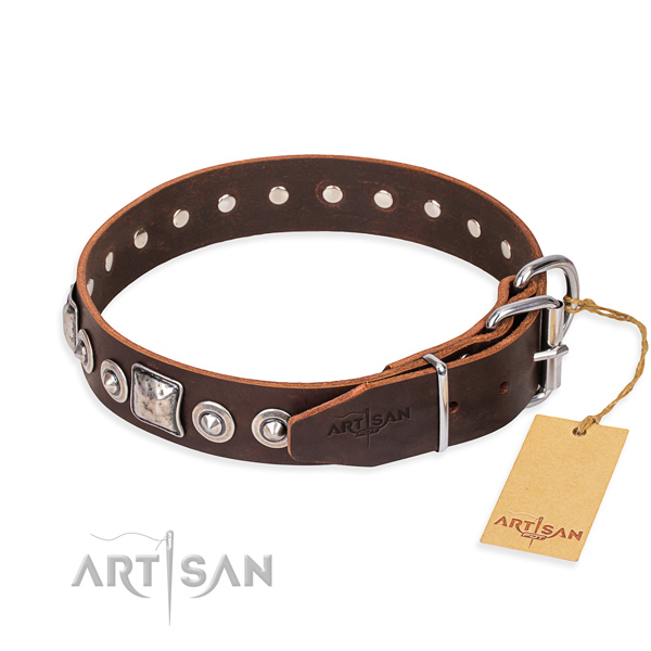 Full grain genuine leather dog collar made of gentle to touch material with corrosion proof studs