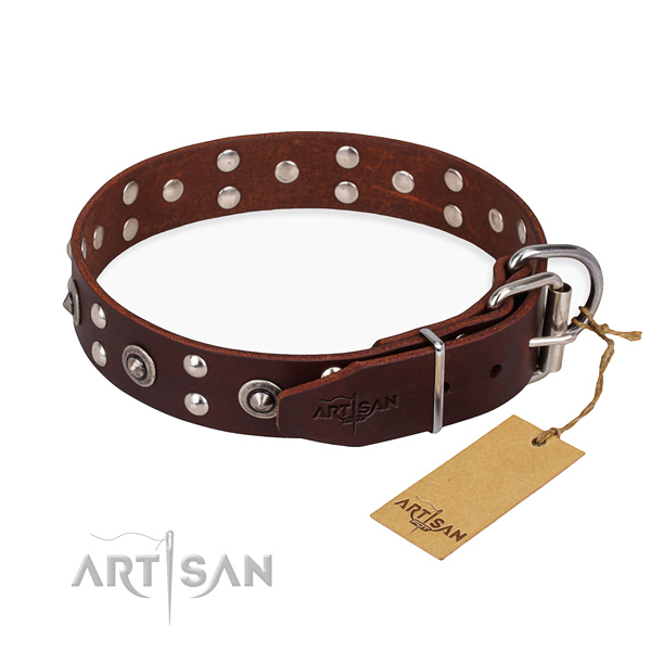 Corrosion proof hardware on genuine leather collar for your impressive dog