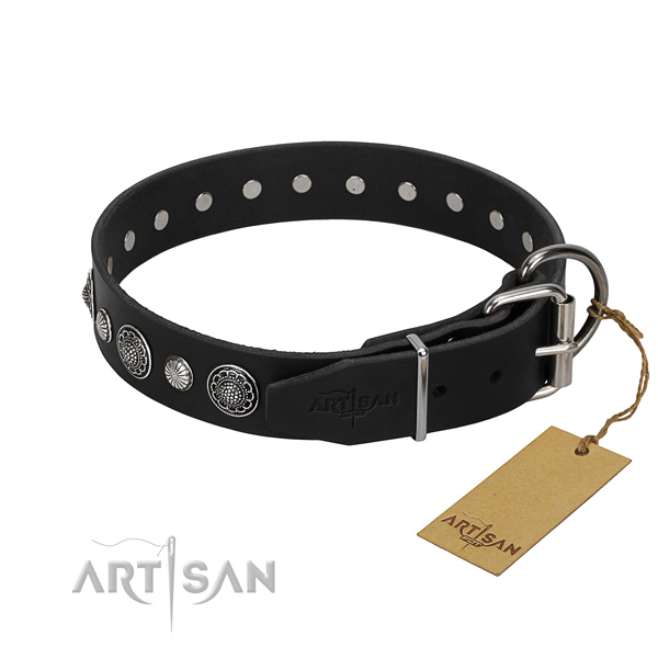 Finest quality leather dog collar with significant decorations