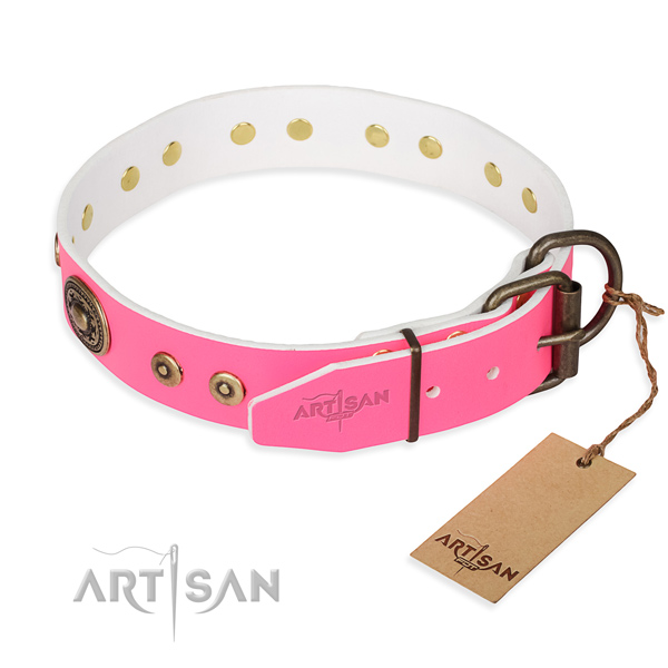 Full grain natural leather dog collar made of soft material with reliable studs