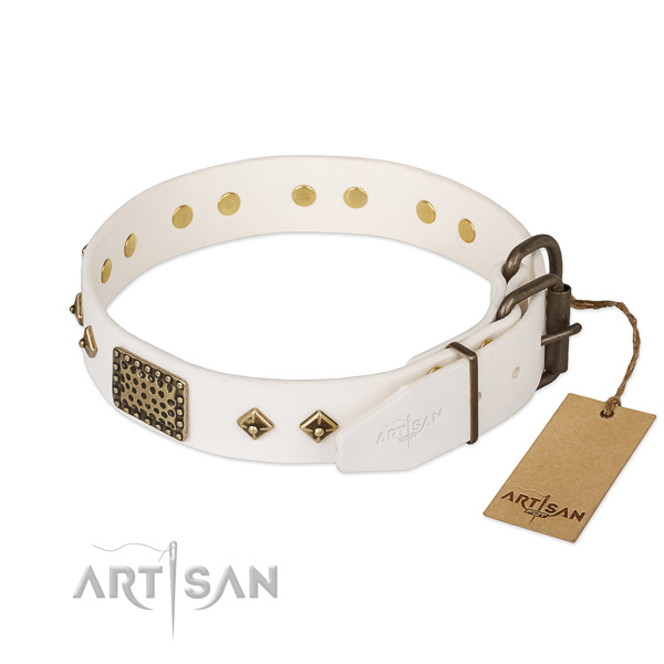 Full grain genuine leather dog collar with corrosion resistant buckle and adornments