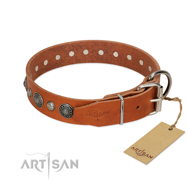 Soft genuine leather dog collar with rust-proof D-ring