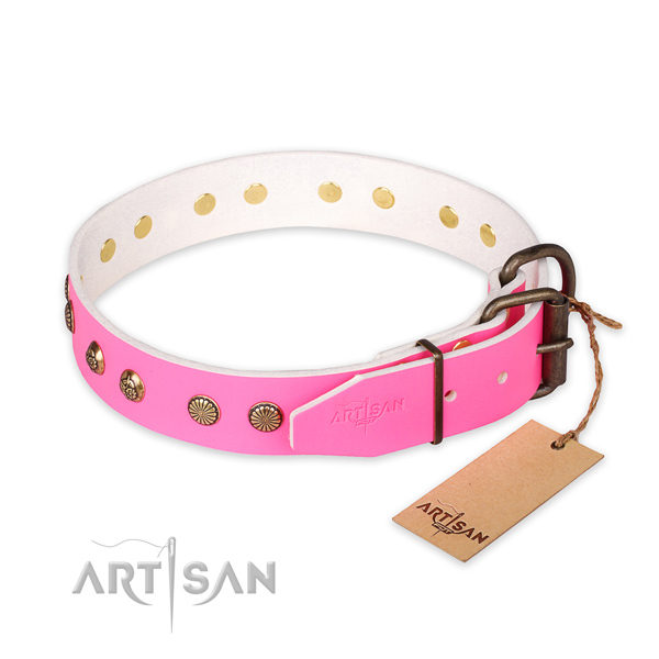 Reliable hardware on full grain genuine leather collar for your stylish four-legged friend