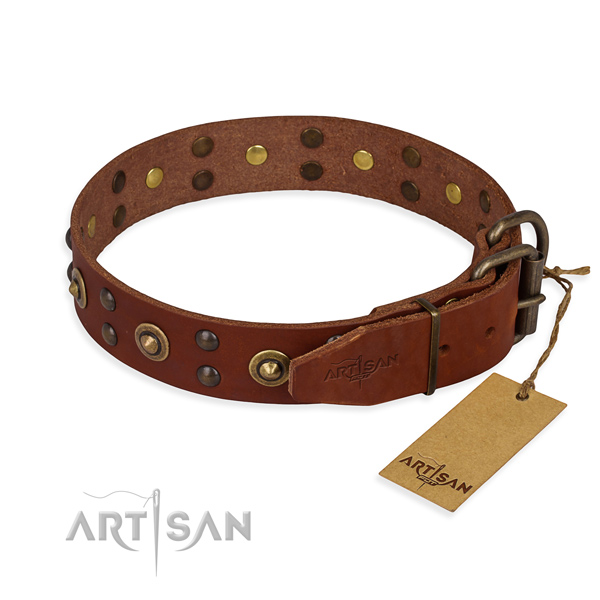 Corrosion proof D-ring on genuine leather collar for your lovely doggie
