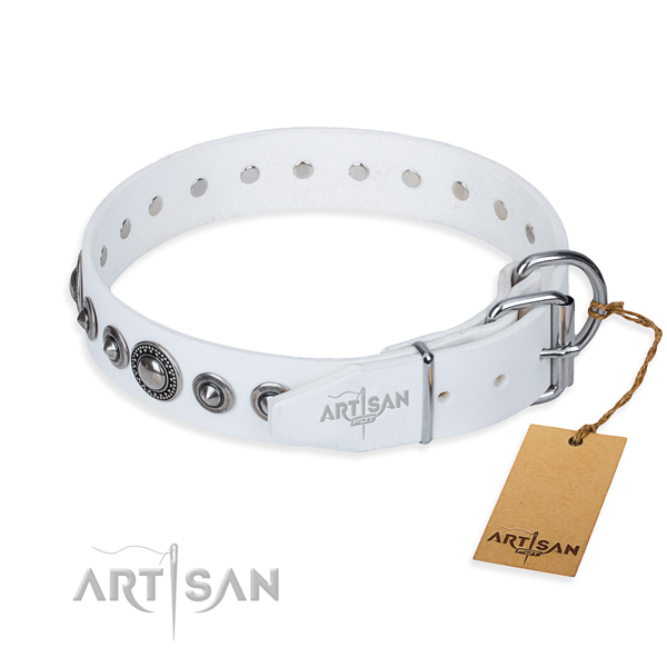 Full grain natural leather dog collar made of soft material with reliable adornments