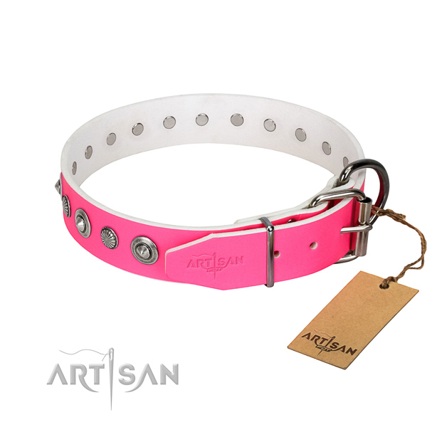 Quality full grain genuine leather dog collar with incredible adornments