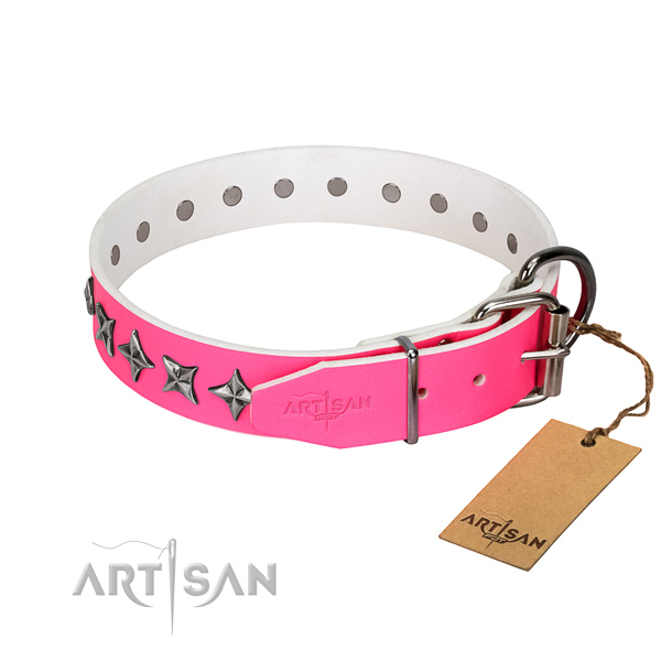 Best quality natural leather dog collar with inimitable decorations