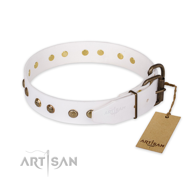 Rust-proof buckle on full grain natural leather collar for your beautiful canine