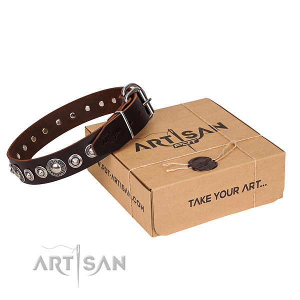Genuine leather dog collar made of quality material with strong fittings