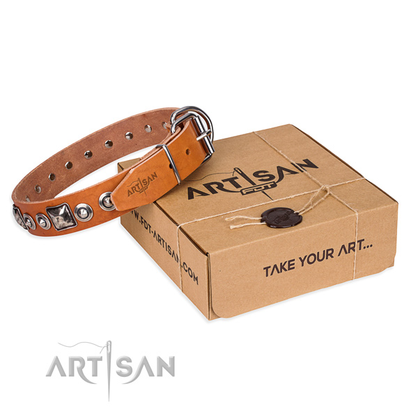 Full grain genuine leather dog collar made of flexible material with durable traditional buckle