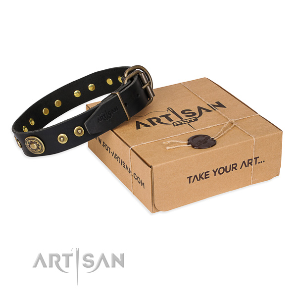 Leather dog collar made of gentle to touch material with rust-proof fittings