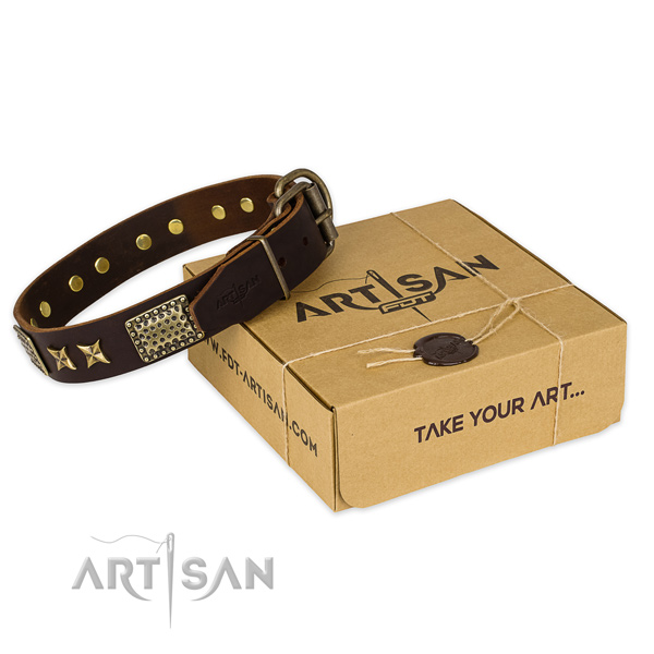 Rust resistant D-ring on full grain leather collar for your impressive four-legged friend