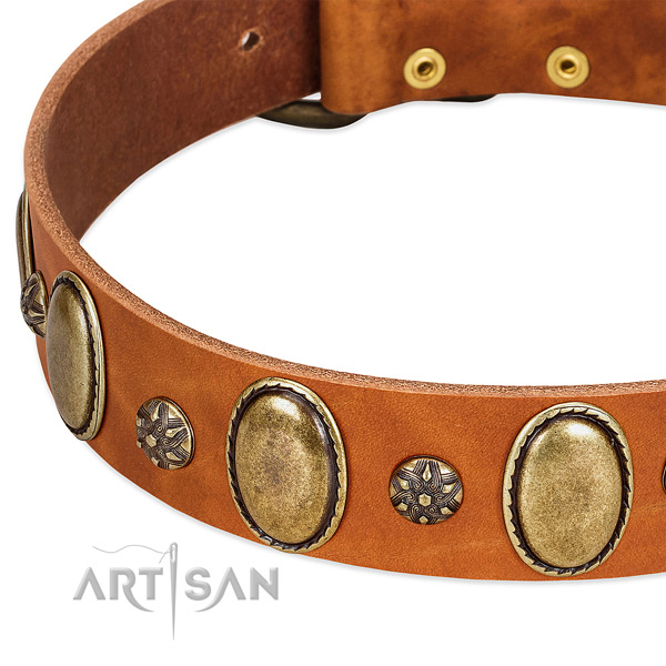 Comfortable wearing soft genuine leather dog collar