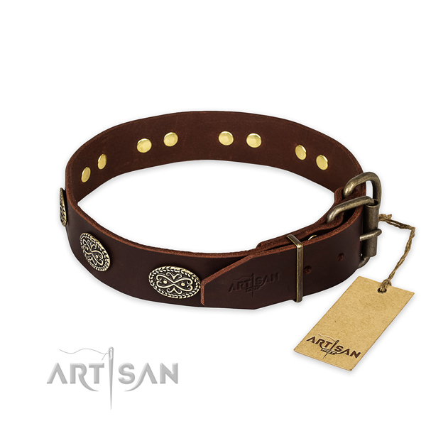 Rust-proof traditional buckle on genuine leather collar for your stylish four-legged friend