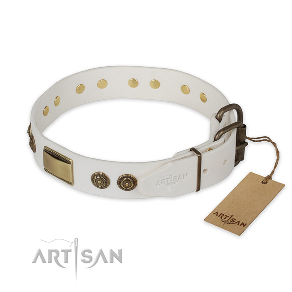 Rust-proof fittings on genuine leather collar for basic training your four-legged friend