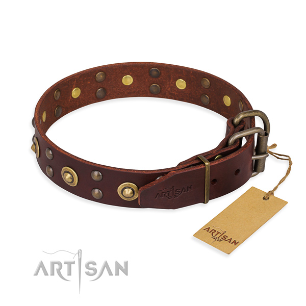 Corrosion resistant buckle on genuine leather collar for your attractive dog