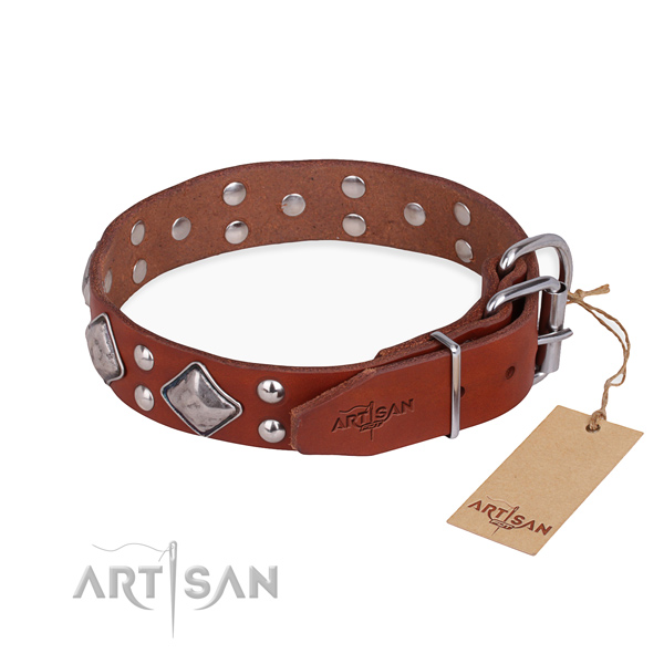 Full grain leather dog collar with amazing reliable studs
