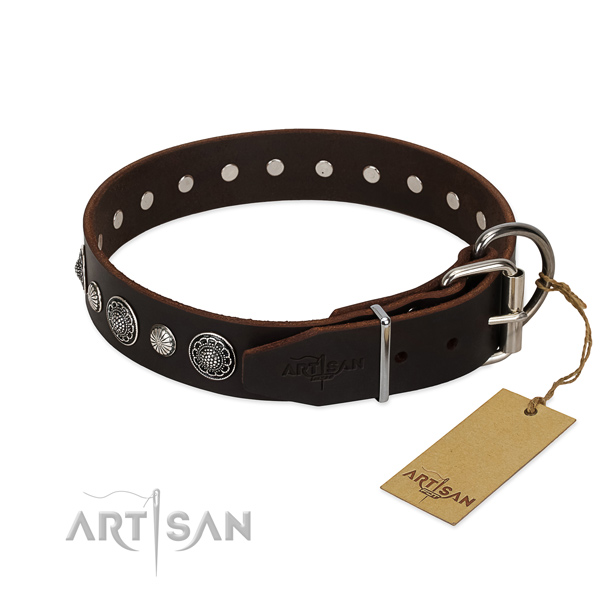 Finest quality full grain leather dog collar with significant decorations