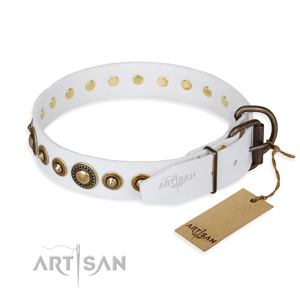 High quality full grain leather dog collar handcrafted for handy use
