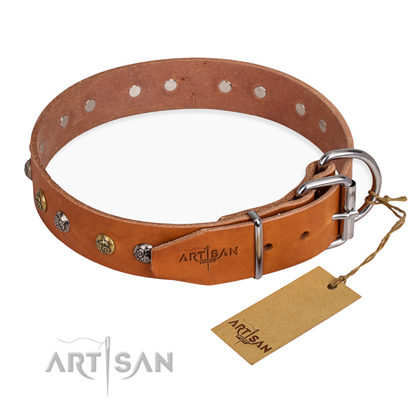 Soft to touch full grain genuine leather dog collar made for everyday use