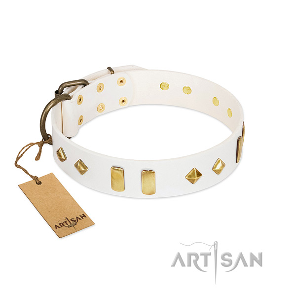 Stylish walking soft natural leather dog collar with adornments