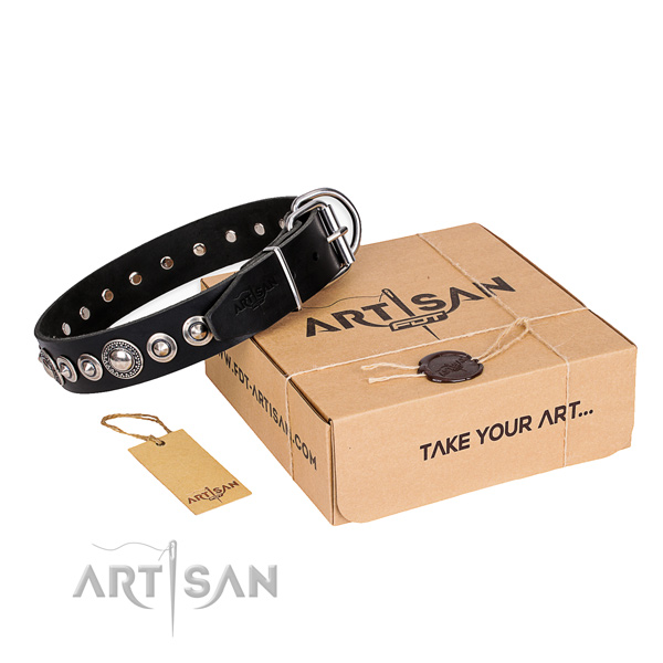 High quality natural leather dog collar