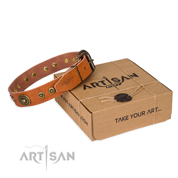 Leather dog collar made of gentle to touch material with rust-proof D-ring