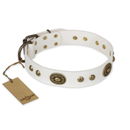 """Adorable Dream"" FDT Artisan White Leather Belgian Malinois Collar"
