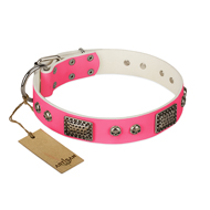 """Fashion Skulls"" FDT Artisan Pink Leather Belgian Malinois Collar with Old Silver Look Plates and Skulls"