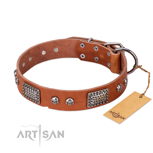 Easy adjustable full grain genuine leather dog collar for daily walking your doggie