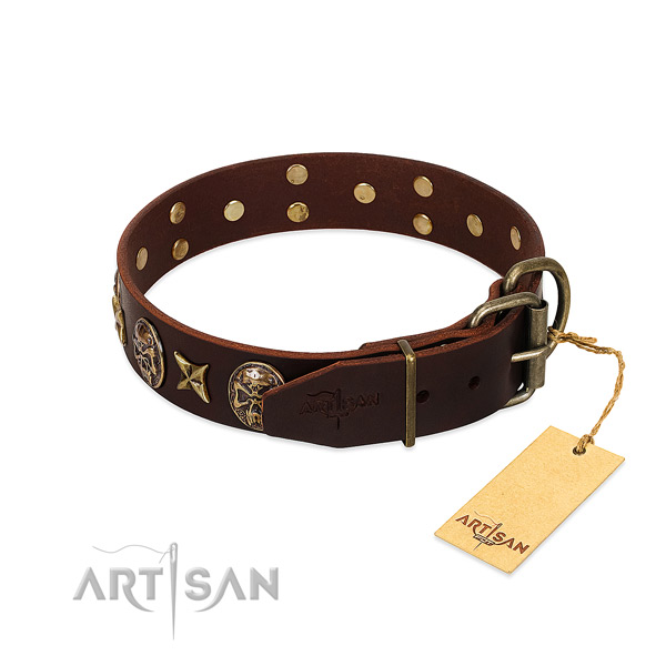 Leather dog collar with durable buckle and studs