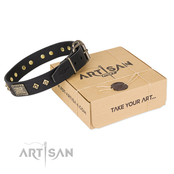Awesome genuine leather collar for your handsome canine