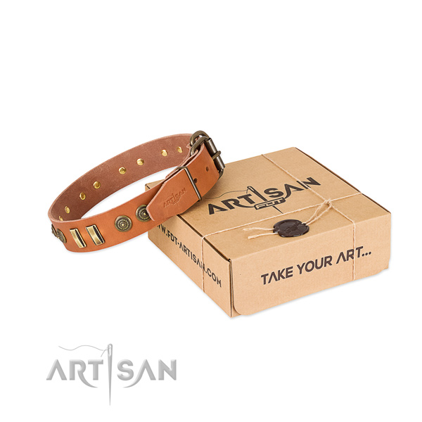 Corrosion resistant adornments on full grain genuine leather dog collar for your canine