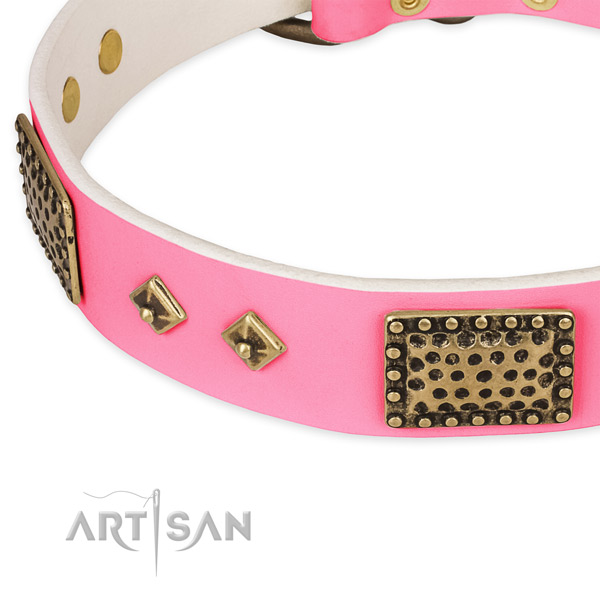 Natural genuine leather dog collar with decorations for easy wearing