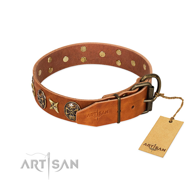 Full grain genuine leather dog collar with strong hardware and studs