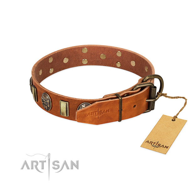 Full grain genuine leather dog collar with strong D-ring and adornments