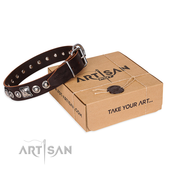 Genuine leather dog collar made of reliable material with strong traditional buckle